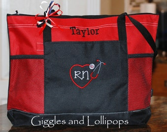 Personalized Nurse  Tote Bag Personalized RN LPN BSN Student Nurse Gift
