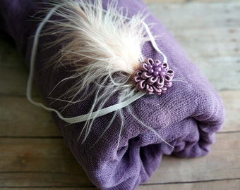 Cheesecloth and Headband, Newborn Wrap Photography Prop, Purple Cheesecloth, Baby Wrap, Newborn Photo Prop, Newborn Cheeseclth Wrap, Gauze