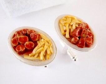 Currywurst Cufflinks - Miniature German Food Art Jewelry Collectable - Schickie Mickie Original 100% handmade