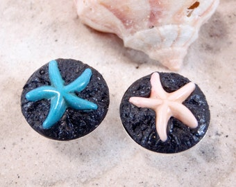 Starfish on Lava Rock Cufflinks - Take me to the Ocean Collection - Schickie Mickie Original