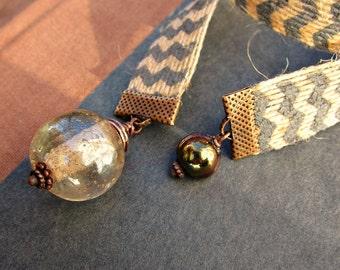Beaded Jute Ribbon Bookmark with Big Glass Bead: Bubble