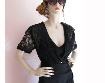Vintage 1940s Black Widow Burlesque Sheer Lace and Rhinestone Draped Bustle Dress