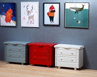 WHITE Short Dresser - OOAK Dollhouse Miniature Bedroom Furniture 1:48 Scale for Tiny Bear Diorama