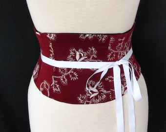 Waist Cincher Corset Belt Any Size Red Embroidered Corduroy B
