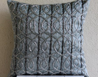 "Handmade Grey Pillow Covers, 16""x16"" Silk Pillowcase, Square  Lattice Trellis Pillow Cases - Grey N Silver"