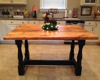 Harvest Style Kitchen Island from Reclaimed Hardwood with Turned Legs