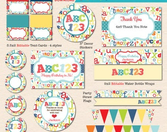Colorful Alphabet Birthday ABC123  Printable Party - INSTANT DOWNLOAD!