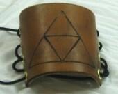 Zelda Triforce hand burned leather cuff / bracer