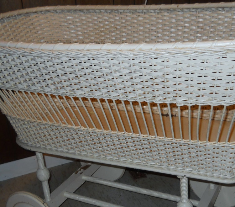 Sale Antique Baby Bassinet White Wicker Basket By Glamatiques