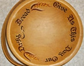 """Woodcroftery Painted and Hand Turned """"Daily Bread"""" Swing Handle Bowl"""