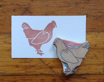Chicken Rubber Stamp Hand Carved