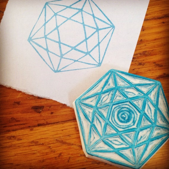Sacred geometry rubber stamp hand carved by enchantingstamps