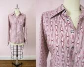 1970s Pale Gray Geometric Print Men's Shirt
