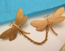 Dragonfly Sweater clips Cardigan clips collar clips Gold sweater guard dragonfly jumper clips tie tacks