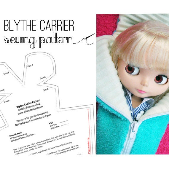 Knitting Pattern For Doll Carrier : Items similar to Blythe Doll carrier case bag sewing pattern on Etsy