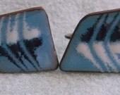VINTAGE 3/4 Inch Screw On Blue Enamel Metal Earrings  **  Free Shipping **