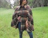 25% OFF 60s Plaid Wool Cape // Satin Lined // London Mod // San Francisco Cool