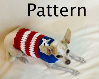 Dog Sweater Crochet Pattern, USA Flag Red White and Blue pdf, OK to sell, America Patriotic Animal Clothes Forth of July