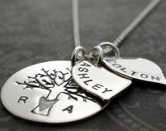 Personalized Mother's Family Tree Necklace - Family of Four Oak Tree w/ Two Leaf Charms in Sterling Silver - EWDJewelry