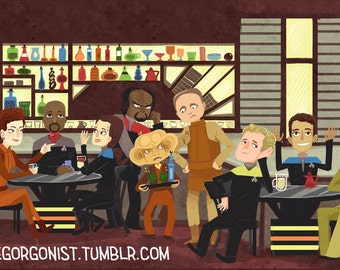 Quark's Bar 8x12 nerdy art print