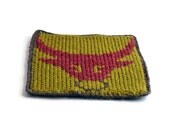 On Sale Marked Down 20% Knit and Crochet Coaster Personalized Taurus Zodiac Mug Rug Olive Green Rust Brown