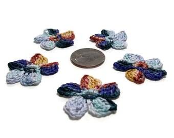 Crochet Applique Flower Motif Flower Embellishment Berry Golden Brown Blue Grey Crochet Flower Applique Crochet Motif Crochet Flower Motif
