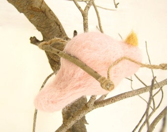 Needle Felted Bird Ornament - Wool Home Decor - Mothers Day - Nursery Room - Baby Girl Shower