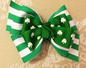 Green Shamrock and Striped Hair Bow, St. Patricks Day, Spring