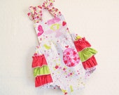Retro Style Ruffled Sunsuit Bubble Romper Vintage Look Halter or Cross back - Snap Crotch - sizes 0 - 24 mos - Strawberry Tea Party