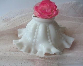 Vintage Milk Glass Ruffled Beaded Bowl - Cottage Chic