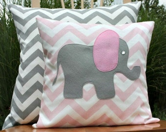 Modern Grey and Pink Elephant Chevron Pillow Cover