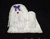 Beaded MALTESE dog pin pendant art jewelry necklace w/ purple bow / Ready to Ship/ Free US Shipping