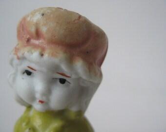 Girl Figurine Pastel White Porcelain Vintage Japan