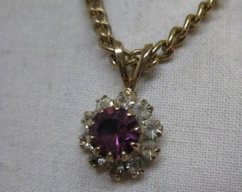 Amethyst Rhinestone Gold Necklace Vintage Pendant