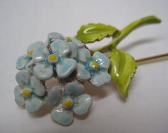 Flower Blue Stick Pin Enamel Green Gold Vintage