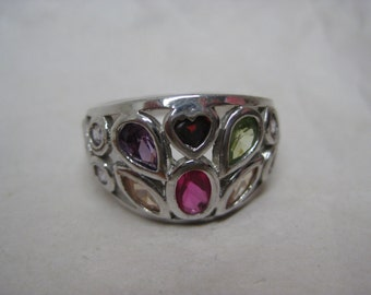 Colorful Pink Purple Yellow Green Stone Silver Ring Size 8 1/4 Vintage Pastel Heart