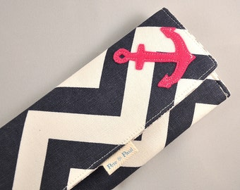 NAUTICAL WALLET /// Hot Pink Anchor Wallet, Chevron Wallet, Women Wallets, Anchors Aweigh, Pink