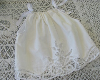 Wow...Lowered Price...All White Pillowcase Dress Made From Vintage Battenburg