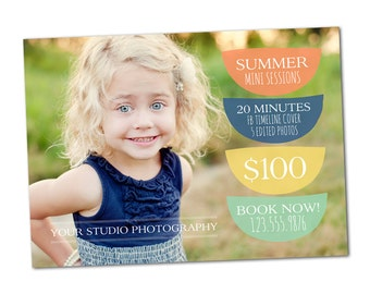 Modern Summer Promotional Photography Marketing Mini Session Card | One-Sided 5x7 PSD | Photoshop Template | MM8008 | Instant Download