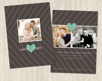 Modern Save the Date Card   Photoshop Templates for Photographers   Wedding Cards   Instant Download   CS4004b