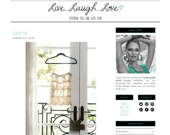 Premade Blogger Template - LIVE...LAUGH...LOVE - Mobile Responsive - Graphic Design - Blog Template