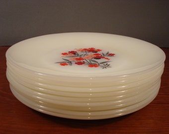 Sale......NINE beautiful Fire King Primrose pattern dinner plates for ONE price