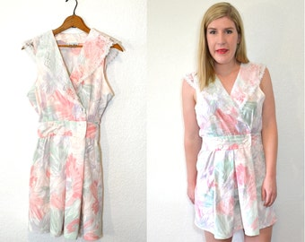 20 DOLLAR SUPER SALE! Pink Floral Dress Summer - Sailor Dress Women - Lace Collar Dress