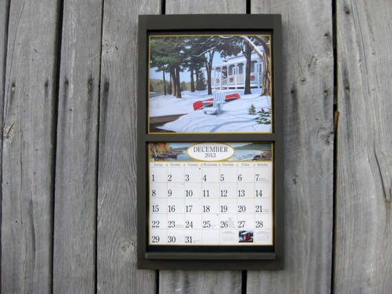 135 x 24 wood calendar holder wooden calendar frame square modern straight design in dark graphite