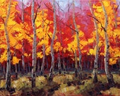 RESERVED for Hans Fall Joy 24x36 Original LARGE Oil Painting Impressionism Fall Autumn Aspens Birch trees by Carl Bork