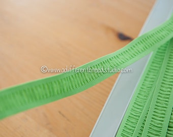 3 yards Lime Green - Vintage Trim Juvenile 70s 80s New Old Stock Fun Stretchy Elastic Pleated