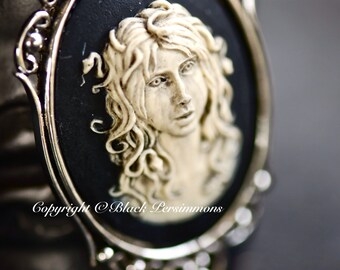 Medusa Gothic Necklace No. 1 - Greek Snakes Head Monster Cameo 40x30mm - 2 Setting Colors - Insurance Included