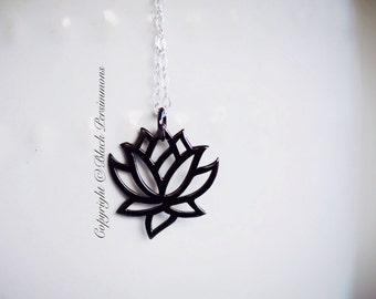 Renge Necklace - Small Sterling Silver Lotus Flower Feng Shui Lian Hua Charm Pendant with Ruthenium Black Platinum- INSURANCE INCLUDED