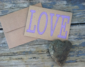 LOVE Purple Glitter card stock & Kraft Blank die cut Greeting Card with Matching Envelope.  I love you, love card, relationship, friend card