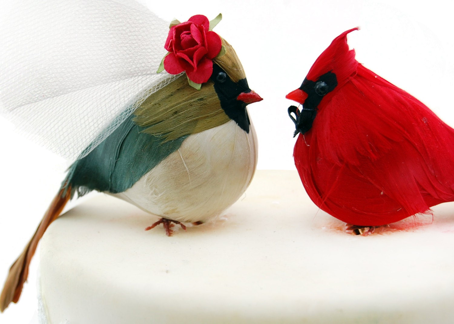 Country Cardinal Wedding Cake Topper: Bride & Groom Love